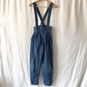 Vintage Sears suspender high waisted jeans 14Y